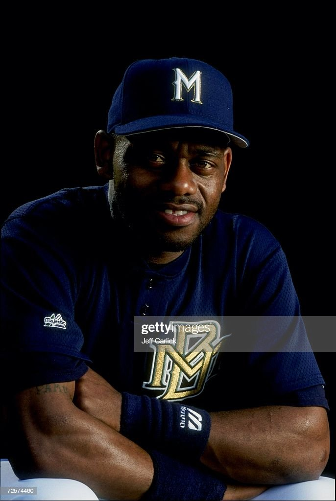 Marquis Grissom of the Milwaukee Brewers at Spring Training at the Maryvale Baseball Park in Phoenix Arizona
