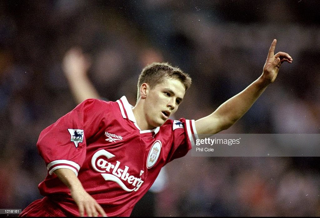 Michael Owen of Liverpool celebrates his goal during the FA Carling Premiership match against Sheffield Wednesday played at Hillsborough in Sheffield...