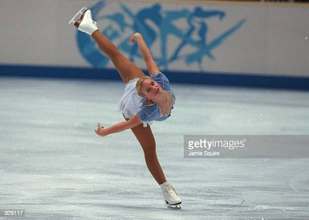 Nicole Bobek of the USA competes in the free skate at White Ring Arena during the 1998 Winter Olympic Games in Nagano Japan Mandatory Credit Jamie...