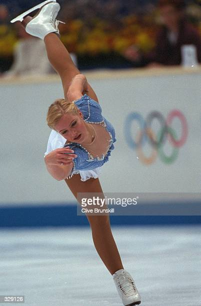 Nicole Bobek of the USA performs her routine in the free skate at White Ring Arena during the 1998 Winter Olympic Games in Nagano Japan Mandatory...