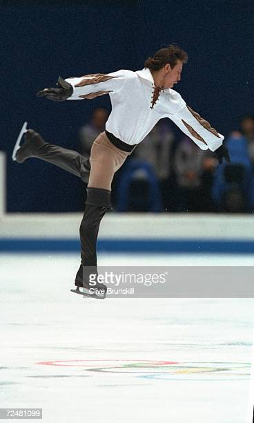 Philippe Candeloro of France performs his bronze medal routine in the mens free skate competition at White Ring Arena during the 1998 Winter Olympic...