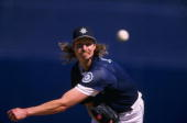 Randy Johnson of the Seattle Mariners pitching during the spring training game between the Seattle Mariners and the San Diego Padres at the Peoria...