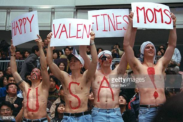 USA hockey fans wish their moms a happy Valentine''s day during the USA v Sweden game at Big Hat Arena during the 1998 Winter Olympic Games in Nagano...