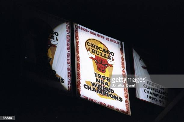 A general view of the Chicago Bulls 1998 Championship Banner as it is presented before the game against the Atlanta Hawks at the United Center in...