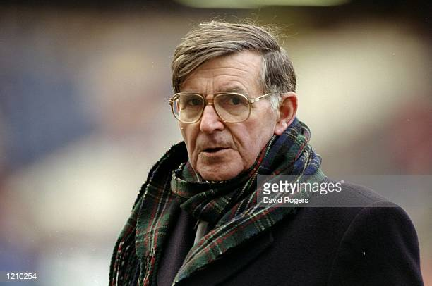 A portrait of Bill McLaren the television commentator at the Five Nations match between Scotland and Wales at Murrayfield in Edinburgh Scotland...