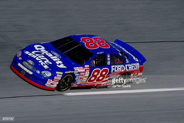 Dale Jarrett races his car in the pole qualifying heat during the Daytona 500 Speedweek at the Daytona International Speedway in Daytona Florida...