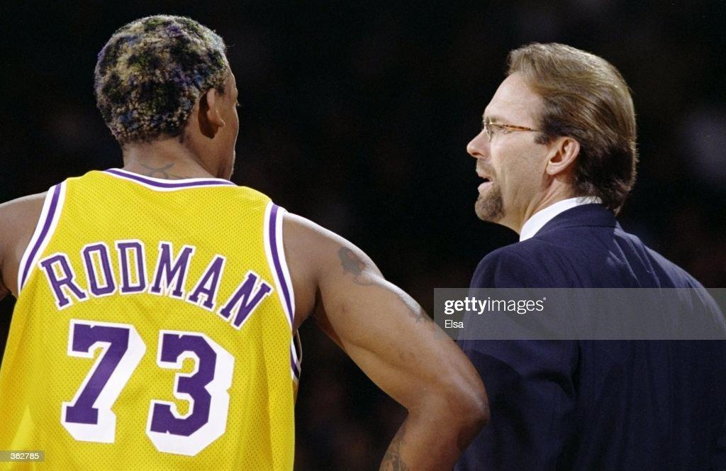 ad0c9c331 Dennis Rodman 73 of the Los Angeles Lakers talks to new head coach Kurt  Rambis ...