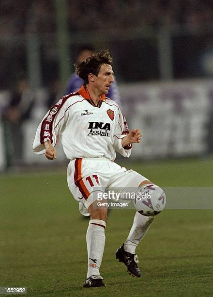 Eusebio De Francesco of Roma in action during the Serie A match against Fiorentina played in Fiorentina Italy The match finished in a 00 draw...