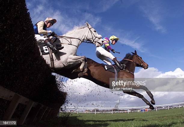 Mouse Bird and Richard Johnson lead Diwali Dancer ridden by Chris Maude over an early fence at Haydock Park before winning The Grenalls Original...