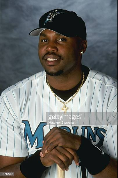 Outfielder Cliff Floyd of the Florida Marlins poses for a studio portrait on Photo Day during Spring Training at the Space Coast Stadium in Melbourne...