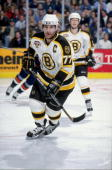 Ray Bourque of the Boston Bruins in action during the game against the New York Islanders at the Fleet Center in Boston Massachusetts The Islanders...