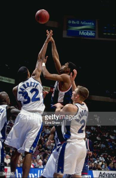 Richard Hamilton of the Connecticut Huskies shoots for a basket during a game against the Seton Hall Pirates at the Continental Airlines Arena in...