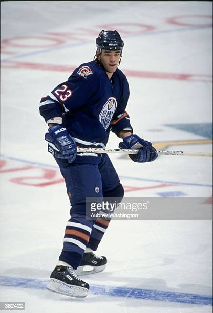 Sean Brown of the Edmonton Oilers in action during the game against the Anaheim Mighty Ducks at the Arrowhead Pond in Anaheim California The Oilers...