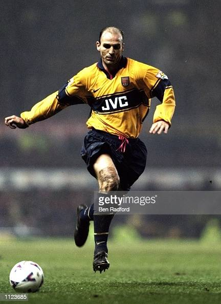 Steve Bould of Arsenal on the ball against Manchester United in the FA Carling Premiership match at Old Trafford in Manchester England The game ended...