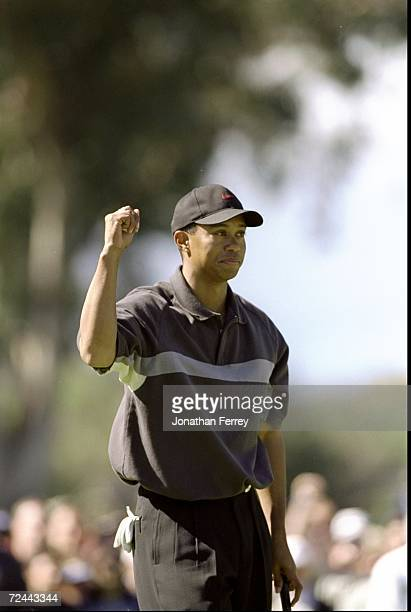 Tiger Woods celebrates during the Buick Invitational at the Torrey Pines Golf Course in La Jolla California Mandatory Credit Jon Ferry /Allsport