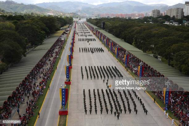 CARACAS Feb 2 2017 Soldiers take part in the parade in commemoration of a national hero General Ezequiel Zamora in Caracas capital of Venezuela on...