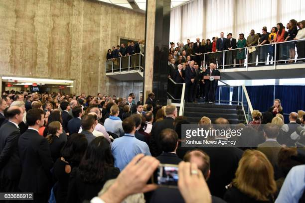 WASHINGTON Feb 2 2017 US Secretary of State Rex Tillerson delivers remarks to employees at the State Department in Washington DC the United States on...
