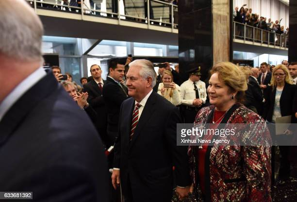 WASHINGTON Feb 2 2017 US Secretary of State Rex Tillerson is greeted by employees upon his arrival at the State Department in Washington DC the...