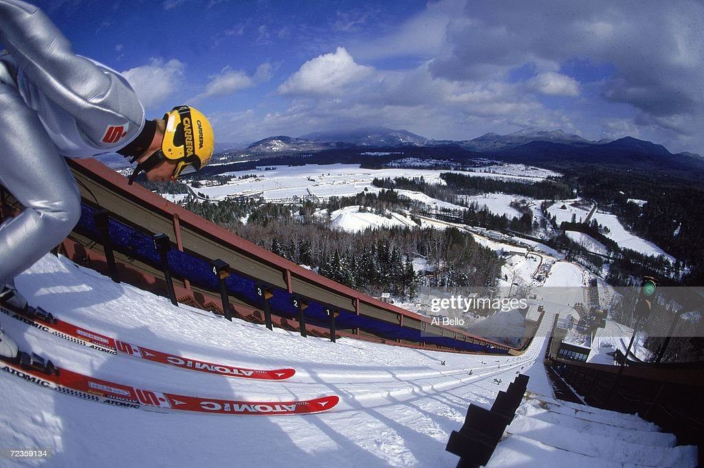 A general view of the Ski Jumping Event at the Goodwill Games at Mnt Van Hoevenberg in Lake Placid New York Mandatory Credit Al Bello /Allsport