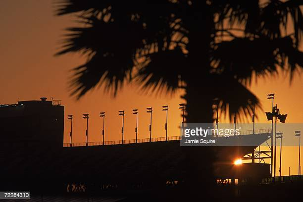 A view of the sunset taken during the Daytona Speedweek part of the NASCAR Busch Series at the Daytona International Speedway in Daytona Beach Florida