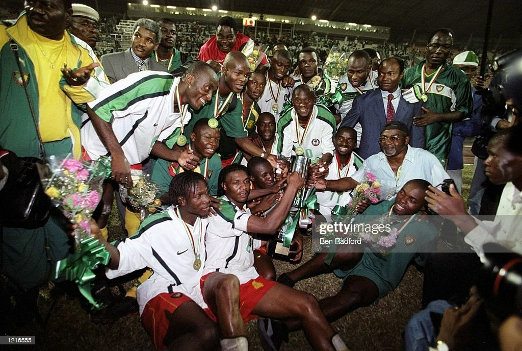 Cameroon celebrate victory over Nigeria in the African Nations Cup Final at the National Stadium in Lagos Nigeria Cameroon won 43 on penalties after...