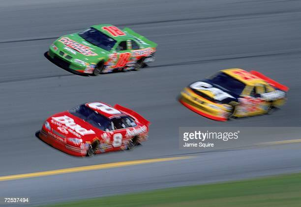 Dale Earnhardt Jr #8 leads the pack during the Daytona Speedweek part of the NASCAR Busch Series at the Daytona International Speedway in Daytona...