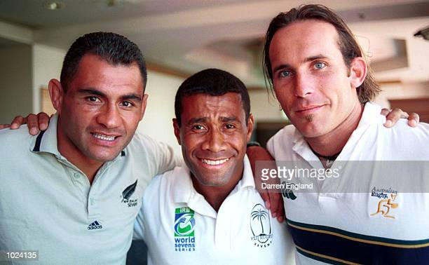 Eric Rush captain of New Zealand Waisale Serevi captain of Fiji and Jack Isaac captain of the Australian rugby sevens teams talk to the media at a...