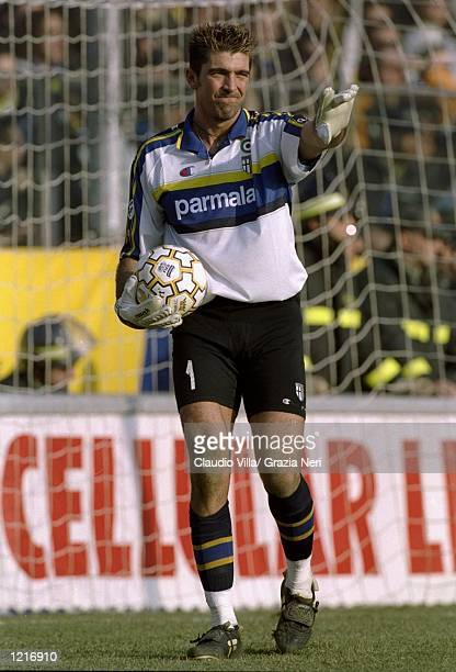 Gianluigi Buffon of Parma in action during the Italian Serie A match against Inter Milan played at Stadio Tardini in Parma Italy The game finished in...