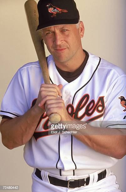 Infielder Cal Ripken Jr #8 of the Baltimore Orioles poses for a studio portrait during Spring Training Photo Day in Ft Lauderdale Florida