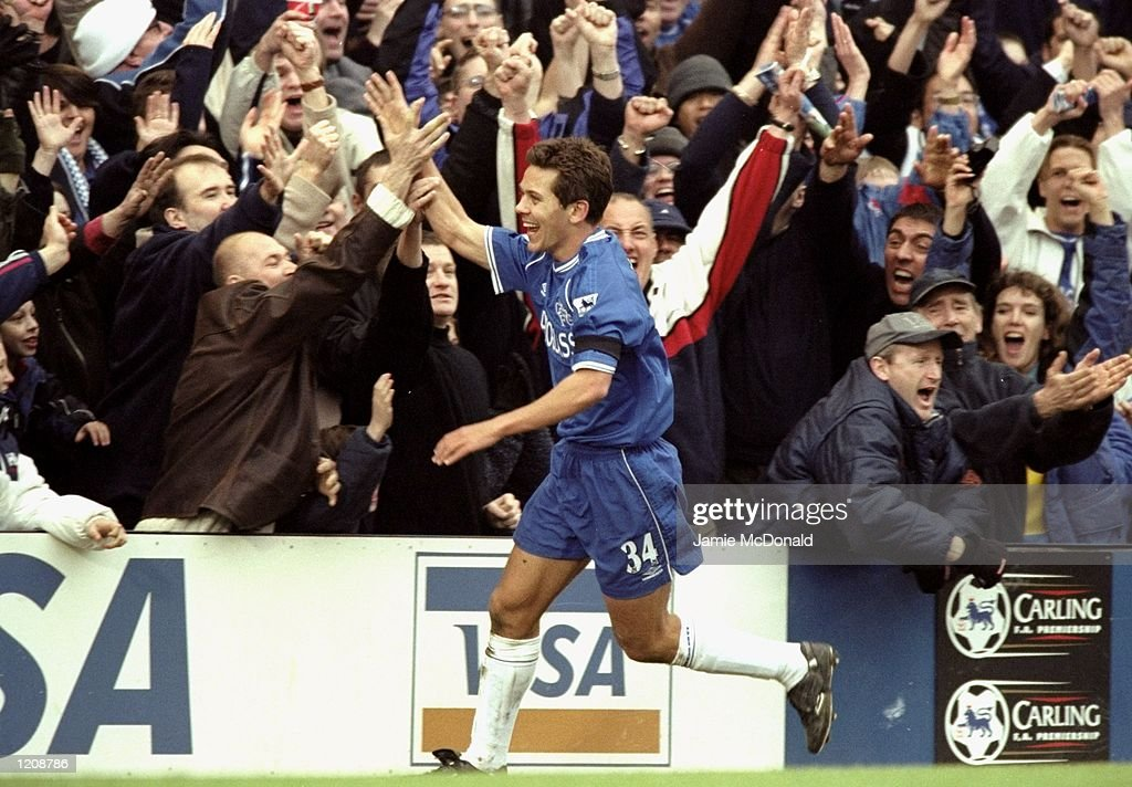 Jon Harley celebrates scoring Chelsea's winner against Watford during the FA Carling Premiership match at Stamford Bridge in London. Chelsea won 2-1. \ Mandatory Credit: Jamie McDonald /Allsport