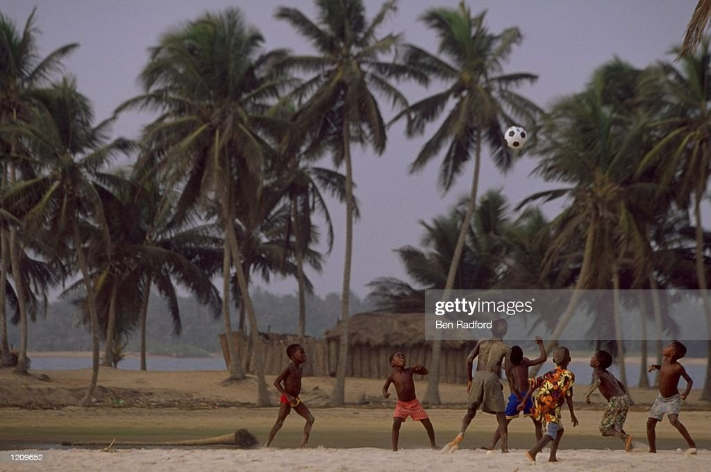 Kids playing beach football during the African Nations Cup in Ghana and Nigeria Mandatory Credit Ben Radford /Allsport