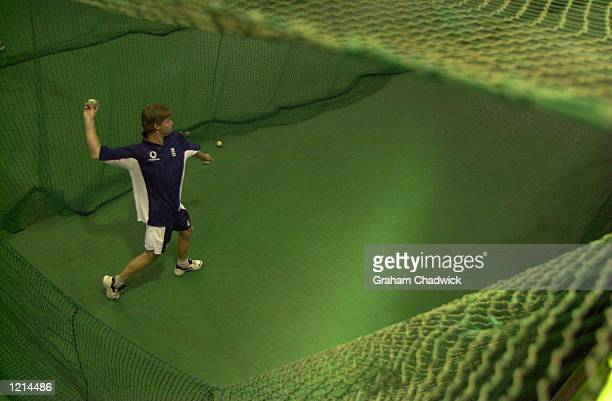 Nick Knight of England in the indoor nets before England meet South Africa in the final on Saturday at the wanderers cricket ground Johannesburg...