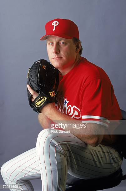 Pitcher Curt Schilling of the Philadelphia Phillies poses for a studio portrait during Spring Training Photo Day in Clearwater Florida Mandatory...
