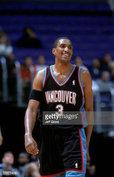 Shareef AbdurRahim of the Vancouver Grizzlies smiles during the game against the Los Angeles Clippers at Staples Center in Los Angeles California The...