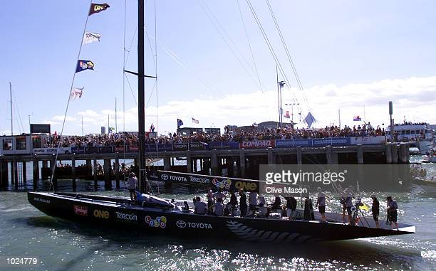Team New Zealand's 'Black Magic' returns to harbour after race one of the America's Cup against Prada's ' Luna Rossa' on Hauraki Gulf Auckland New...