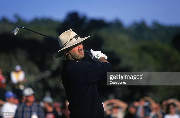 A close up of Bill murray as he watches the ball after hitting it during the ATT Pebble Beach ProAM at the Pebble Beach Golf Links in Pebble Beach...