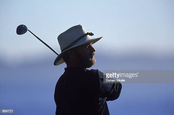 A close up of Bill murray as he watches the ball after teeing off during the ATT Pebble Beach ProAM at the Pebble Beach Golf Links in Pebble Beach...