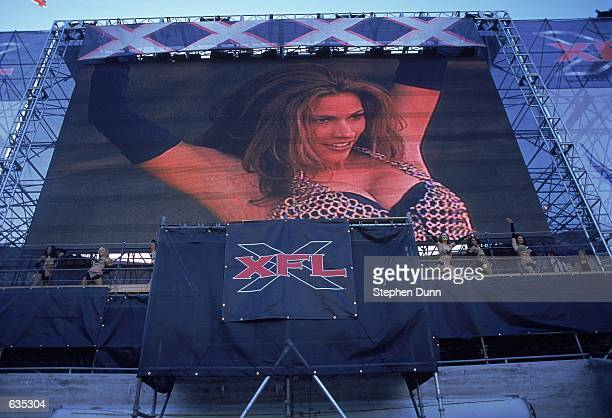 A general view of a Los Angeles Xtreme cheerleader performing on the big video monitor before the game against the Chicago Enforcers at the LA...