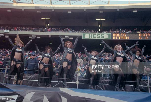 A general view of the New York/New Jersey Hitmen cheerleaders performing during the game against the Birmingham Bolts at the Giants Stadium in East...