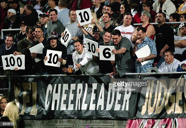 A view of the fans as they rate the cheerleaders taken during the game between the Las Vegas Outlaws and the New York/New Jersey Hitmen at the Sam...