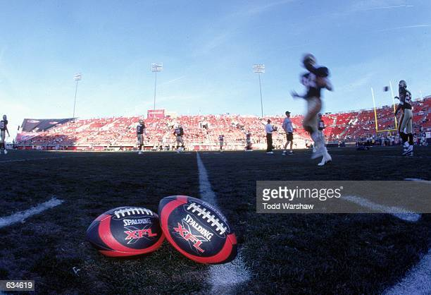 A view of the XFl footballs taken on the field before the game between the Las Vegas Outlaws and the New York/New Jersey Hitmen at the Sam Boyd...