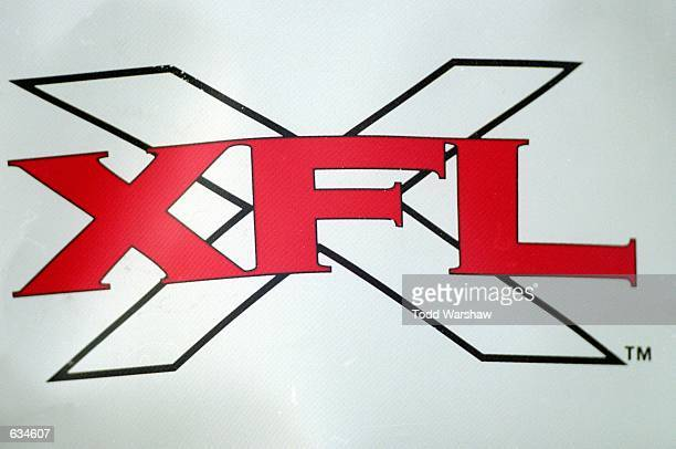 A view of the XFL logo sign taken during the game between the Las Vegas Outlaws and the New York/New Jersey Hitmen at the Sam Boyd Stadium in Las...