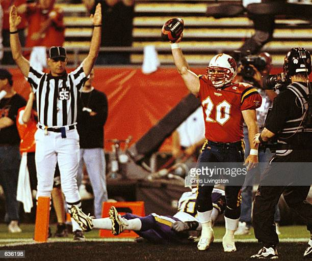 Brian Shay of the Orlando Rage celebrates the Rage's first touchdown against the Birmingham Bolts during their game at the Florida Citrus Bowl in...
