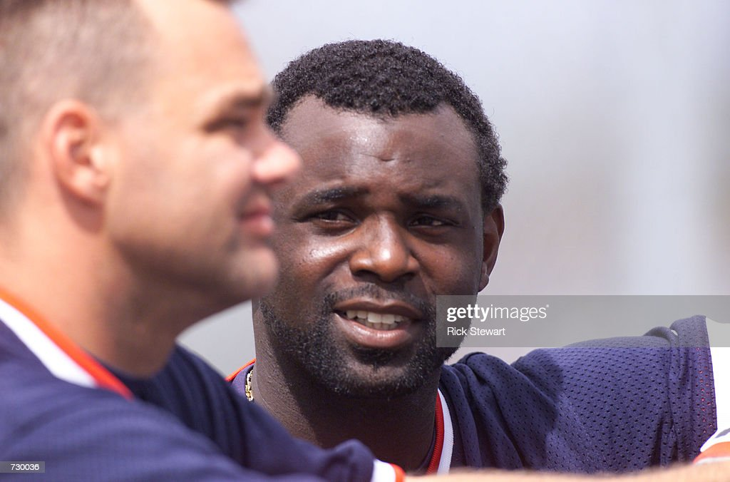 Carl Everett of the Boston Red Sox, right, chats with teammate Dante Bichette during workouts at the Boston Red Sox's spring training complex in Ft. Myers, Florida. DIGITAL IMAGE Mandatory Credit: Rick Stewart/ALLSPORT