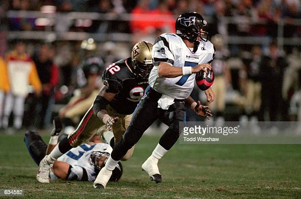 Charles Puleri of the New York/New Jersey Hitmen moves with the ball away from Kelvin Kinney of the Las Vegas Outlaws during the game at the Sam Boyd...