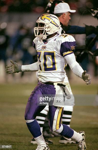 Chris Shelling of the Birmingham Bolts celebrates during the game against the New York/New Jersey Hitmen at the Giants Stadium in East Rutherford New...