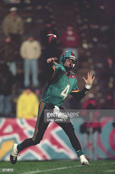 Craig Whelihan of the Memphis Maniax throws a pass during the game against the Las Vegas Outlaws at the Liberty Bowl in Memphis Tennessee The Outlaws...