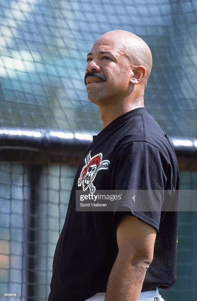 Derek Bell #14 of the Pittsburgh Pirates looks on during Spring Training at McKechnie Field in Brandenton, Florida.Mandatory Credit: Scott Halleran /Allsport