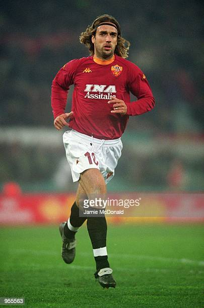 Gabriel Batistuta of AS Roma in action during the UEFA Cup fourth round first leg match against Liverpool played at the Stadio Olimpico in Rome Italy...