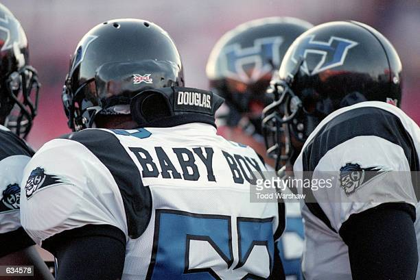 Haven Fields of the New York/New Jersey Hitmen stands in the team huddleduring the game against the Las Vegas Outlaws at the Sam Boyd Stadium in Las...